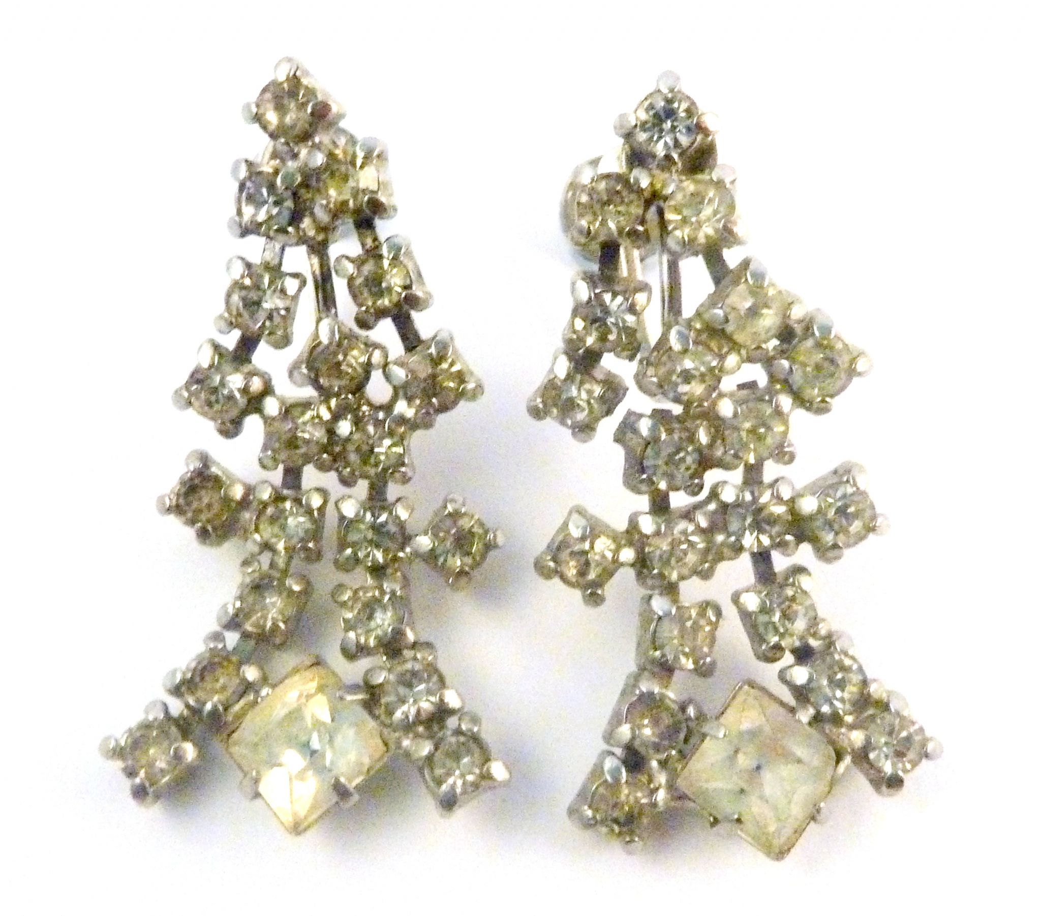 Art Deco Style Earrings Uk Vintage Art Deco Style Rhinestone Drop Screw Back Earrings